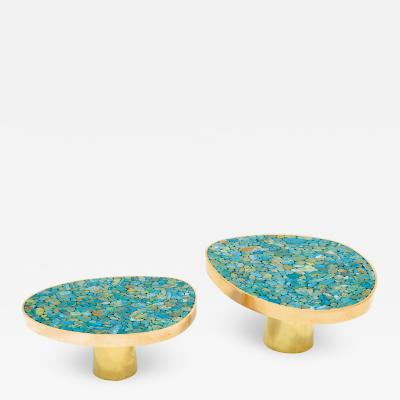 Kam Tin Pair of Turquoise side tables