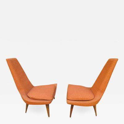 Karpen of California Fantastic Pair of Sculptural Walnut Lounge Chairs by Karpen Mid Century Modern
