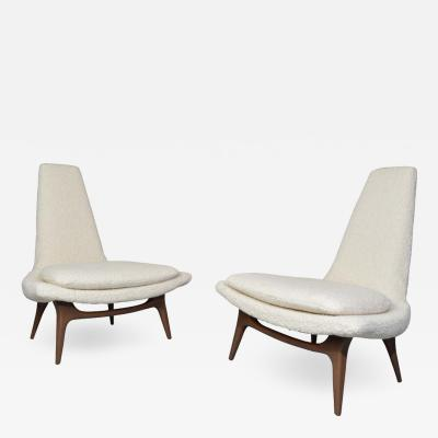 Karpen of California Karpen of California High Back Lounge Chairs in Italian Boucle