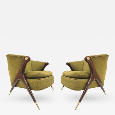 Karpen of California Karpen of California Mid Century Modern Lounge Chairs Pair