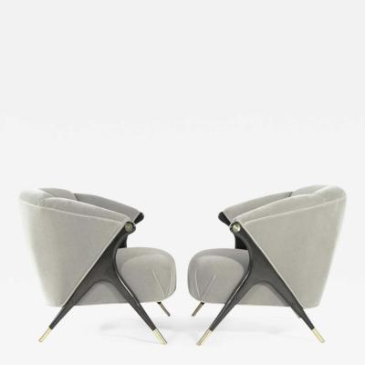 Karpen of California Modernist Karpen Lounge Chairs in Grey Alpaca Velvet 1950s