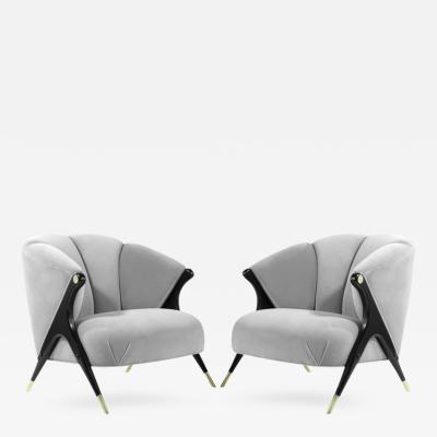 Karpen of California Modernist Karpen Lounge Chairs in Grey Velvet