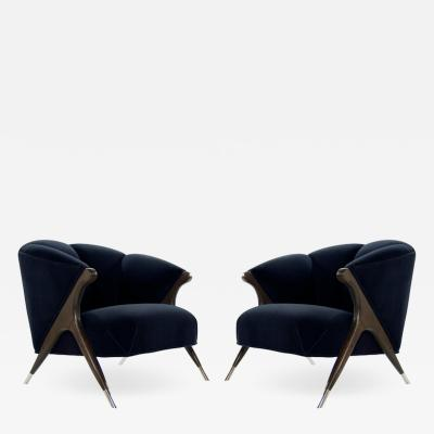 Karpen of California Modernist Karpen Lounge Chairs in Navy Velvet 1950s