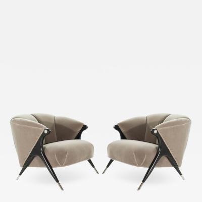 Karpen of California Modernist Karpen Lounge Chairs in Taupe Mohair 1950s