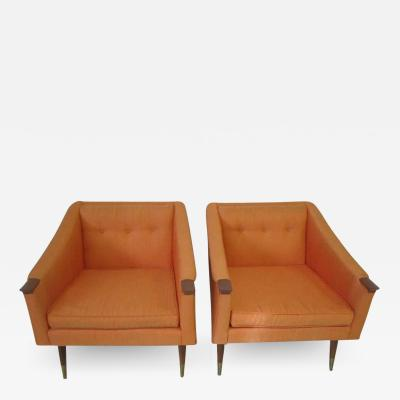 Karpen of California Unusual Pair of Signed Karpen Boxy Lounge Chairs Mid Century Modern