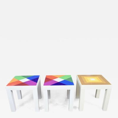 Kartell Trio of mod pop art plastic parsons style square side tables style kartell