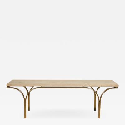 Katavolos Littel Kelly A Mid Century designed Philarmonic table with travertine top 1952