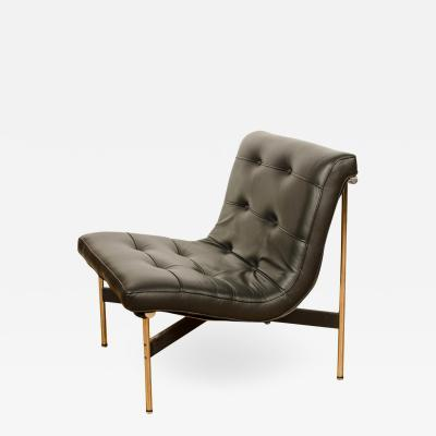 Katavolos Littel Kelly A Mid Century designed black leather lounge chair with chrome base 1952