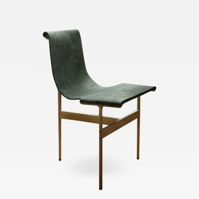 Katavolos Littel Kelly A Mid Century designed chair green suede with light antique bronze finish
