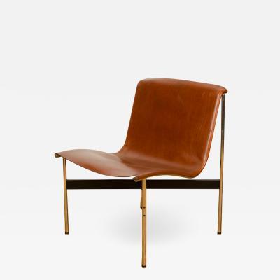 Katavolos Littel Kelly A Mid Century designed chair tan leather with medium antique bronze finish