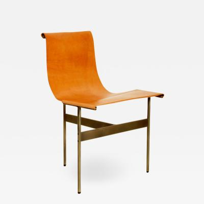 Katavolos Littel Kelly A Mid Century designed chair with medium antique bronze finish and tan leather