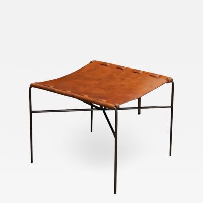 Katavolos Littel Kelly A Mid Century designed ottoman in antique tan leather
