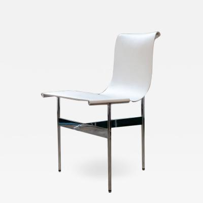 Katavolos Littel Kelly A Mid century designed chair white leather with polished chrome finish 1952