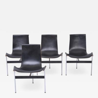 Katavolos Littel Kelly Set of Four Midcentury T Chairs in black Leather by Katavolos Littell and Kelly