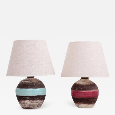Keramos Vienna Manufactory Set of Two Keramos Art Deco Table Lamps