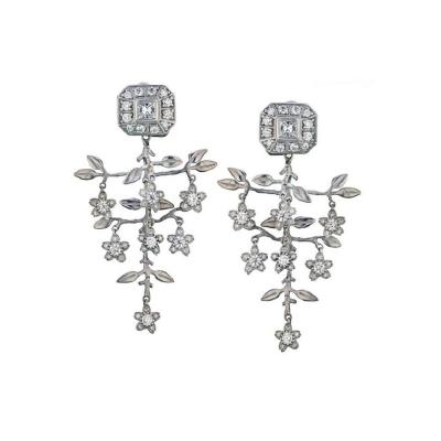 Kieselstein Cord KIESELSTEIN CORD 18K WHITE GOLD 3 CARAT DIAMOND FLOWER EARRINGS