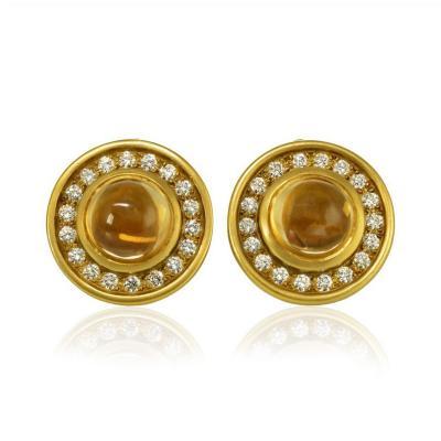 Kieselstein Cord KIESELSTEIN CORD 18K YELLOW GOLD DIAMOND CITRINE ROUND CLIP ON EARRINGS