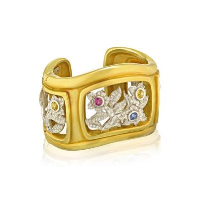 Kieselstein Cord PLATINUM 18K YELLOW GOLD FLORAL DIAMOND AND GEMSTONE CUFF BANGLE BRACELET