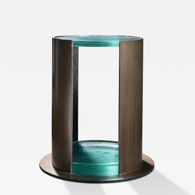 Kimberly Denman Inc HAND PATINATED STEEL RACHIS CAST GLASS SIDE TABLE