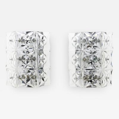 Kinkeldey Crystal Glass Wall Sconces Glass Lights by Kinkeldey circa 1960s