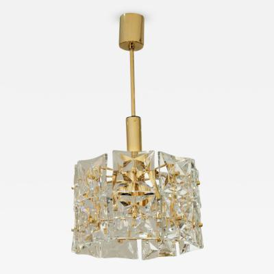 Kinkeldey Leuchten Dramatic Two Tier Goldplate Kinkeldey Chandelier with Square Crystals