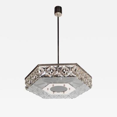 Kinkeldey Mid Century Modernist Faceted Crystal Hexagonal Chandelier by Kinkeldey