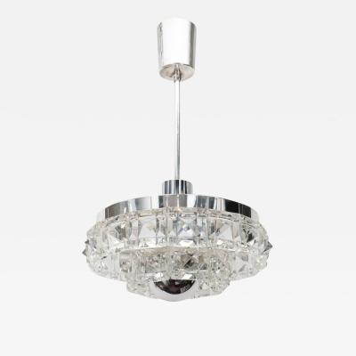 Kinkeldey Midcentury Two Tier Faceted Glass Chandelier by Kinkeldey with Chrome Fittings