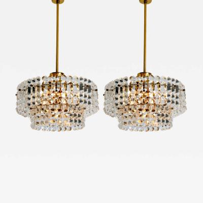 Kinkeldey Pair Of Gold plated Kinkeldey Crystal Glass Chandeliers 1960s