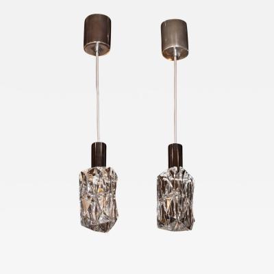 Kinkeldey Pair of Mid Century Modern Pressed Crystal Pendants by Kinkeldey