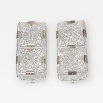 Kinkeldey Pair of Mid Century Modernist Sunburst Design Etched Glass Sconces by Kinkeldey