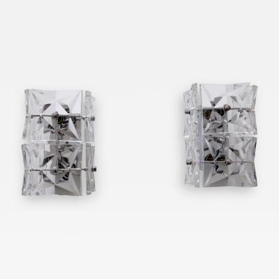 Kinkeldey Set of Two Mid Century Modern Kinkeldey Crystal Glass Sconces or Wall Lamps