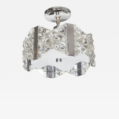 Kinkeldey Stunning Mid Century Deep Faceted Crystal Prism Chandelier by Kinkeldey
