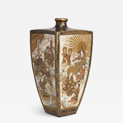 Kinkozan A square form tapered Japanese Satsuma vase depicting the Sun Goddess