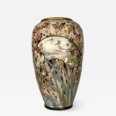Kinkozan A very rare fine and large reticulated Satsuma vase by Kinkozan