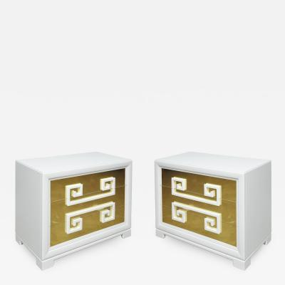 Kittinger Furniture Co Kittinger Greek Key Chests in White Lacquer with Brass Clad Drawer Fronts