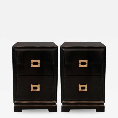 Kittinger Furniture Co Mid Century Modern Ebonized Walnut Nightstands with Brass Pulls by Kittinger