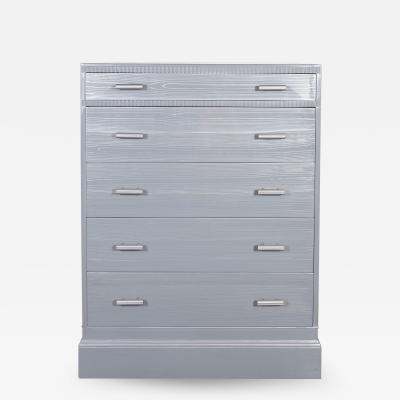 Kittinger Furniture Co Mid Century Modern Silver Cerused Oak High Chest by Kittinger