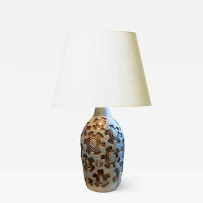Knabstrup Table Lamp with Graphic Design by Knabstrup Pottery