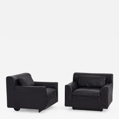 Knoll Black Leather Heli Chairsby Otto Zapf for Knoll 1980