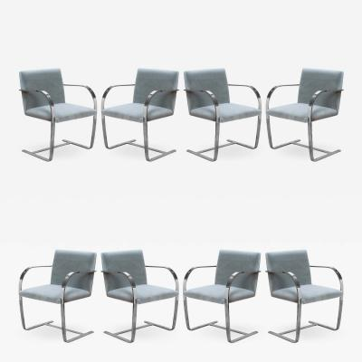 Knoll Brno Flat Bar Chairs in Mohair by Ludwig Mies van der Rohe for Knoll Set of 8
