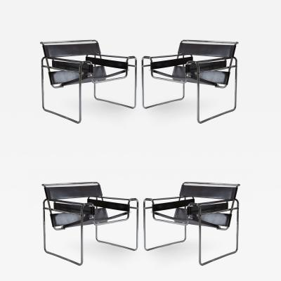 Knoll International Set of Four Marcel Breuer Wassily Chairs in Chrome and Black Leather