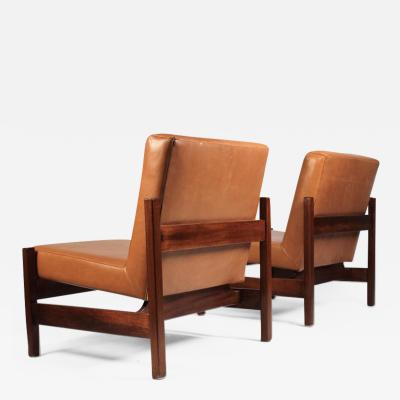Knoll Joaquim Tenreiro Style Peroba Lounge Chairs in leather for Knoll Forma Brazil
