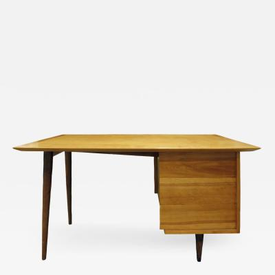 Knoll Knoll Single Pedestal Desk in Birch and Walnut ca 1950