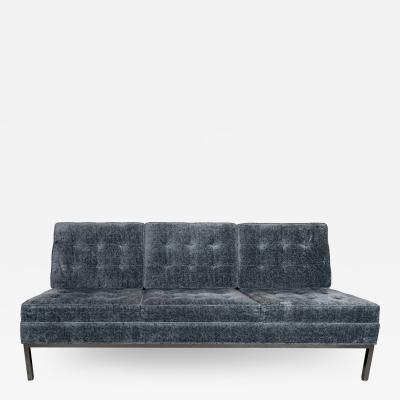 Knoll Mid Century Modern Button Back Tufted Sofa in Textural Sapphire Velvet by Knoll