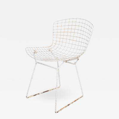 Knoll Mid Century Modern Harry Bertoia for Knoll Wire Side Chair White