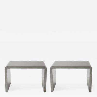 Knoll Pair of Small Side Tables in Metal
