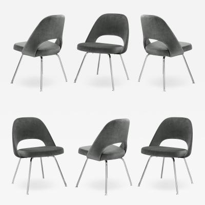 Knoll Saarinen Executive Armless Chairs for Knoll in Graphite Velvet by Set of 6