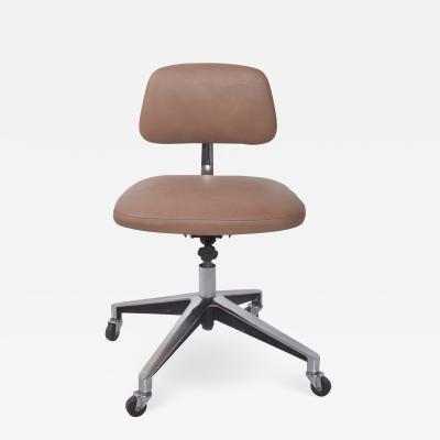 Knoll Saarinen KNOLL Office Desk Chair Cocoa Leather on Chrome 1970s