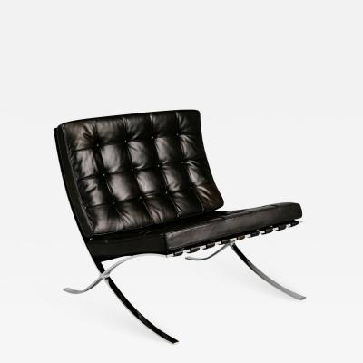 Knoll Signed Knoll Black Leather Barcelona Lounge Chair by Ludwig Mies van der Rohe