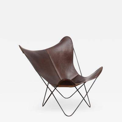 Knoll Tobacco Leather Hardoy Butterfly Chair for Knoll
